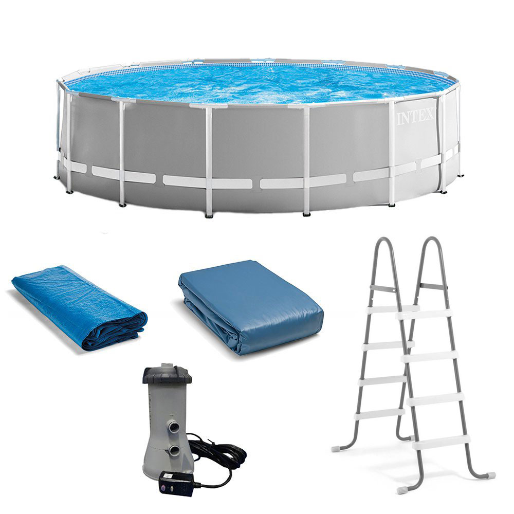 Intex 15 Foot X 48 Inch Prism Above Ground Pool Set Ladder And Cover Open Box 78257267255 Ebay
