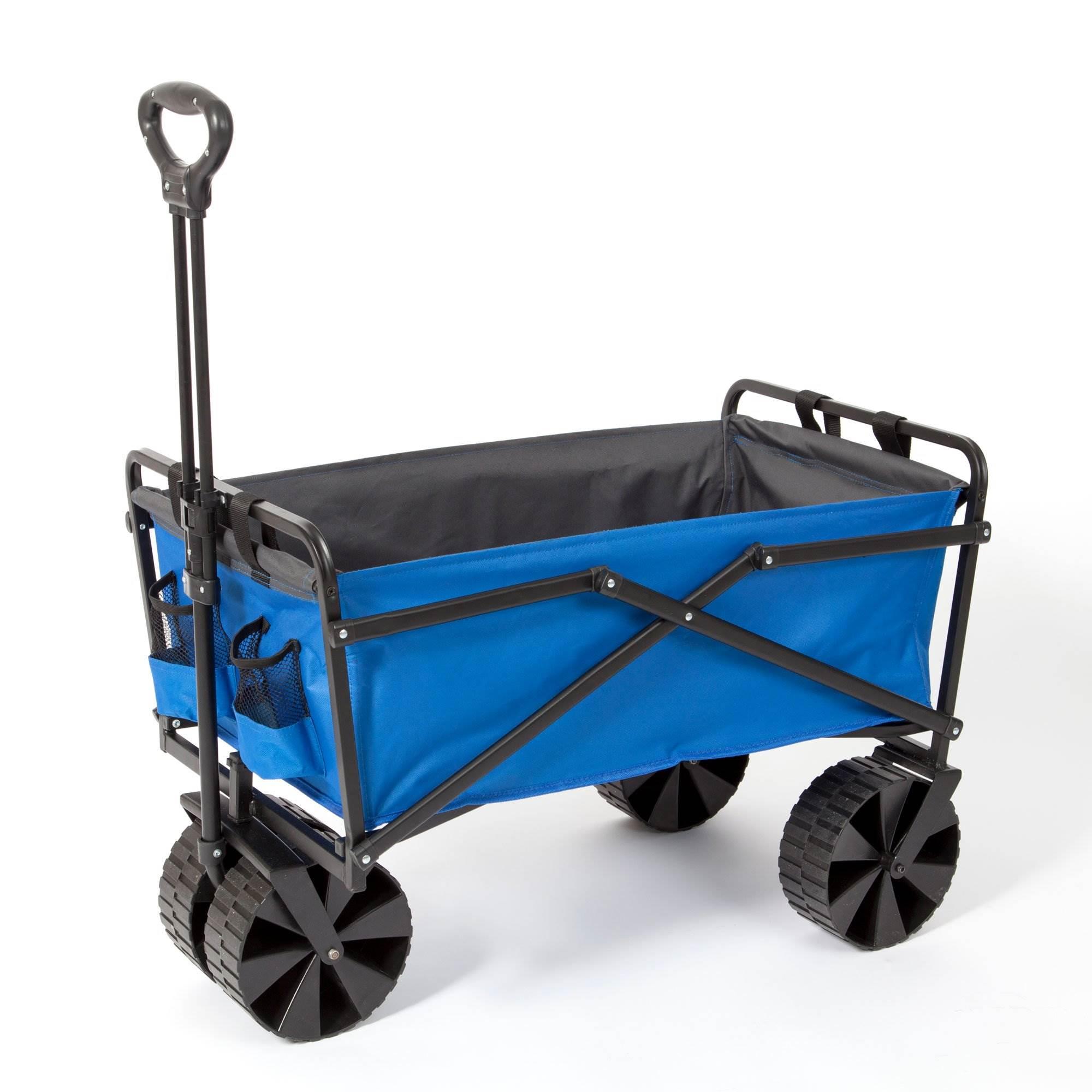 Seina Manual 150 Pound Steel Frame Folding Garden Cart Beach Wagon Blue Gray 859214007059 Ebay