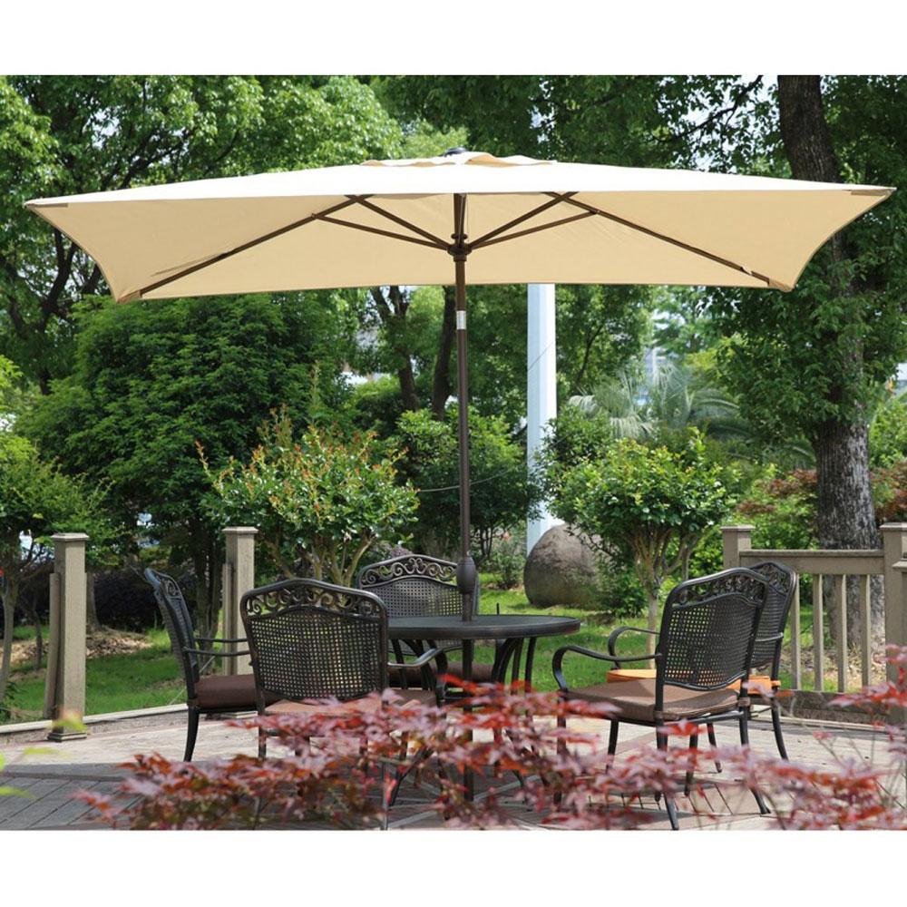 Abba Patio 6 X 9 8 Feet Rectangular Outdoor Market Table Umbrella Beige