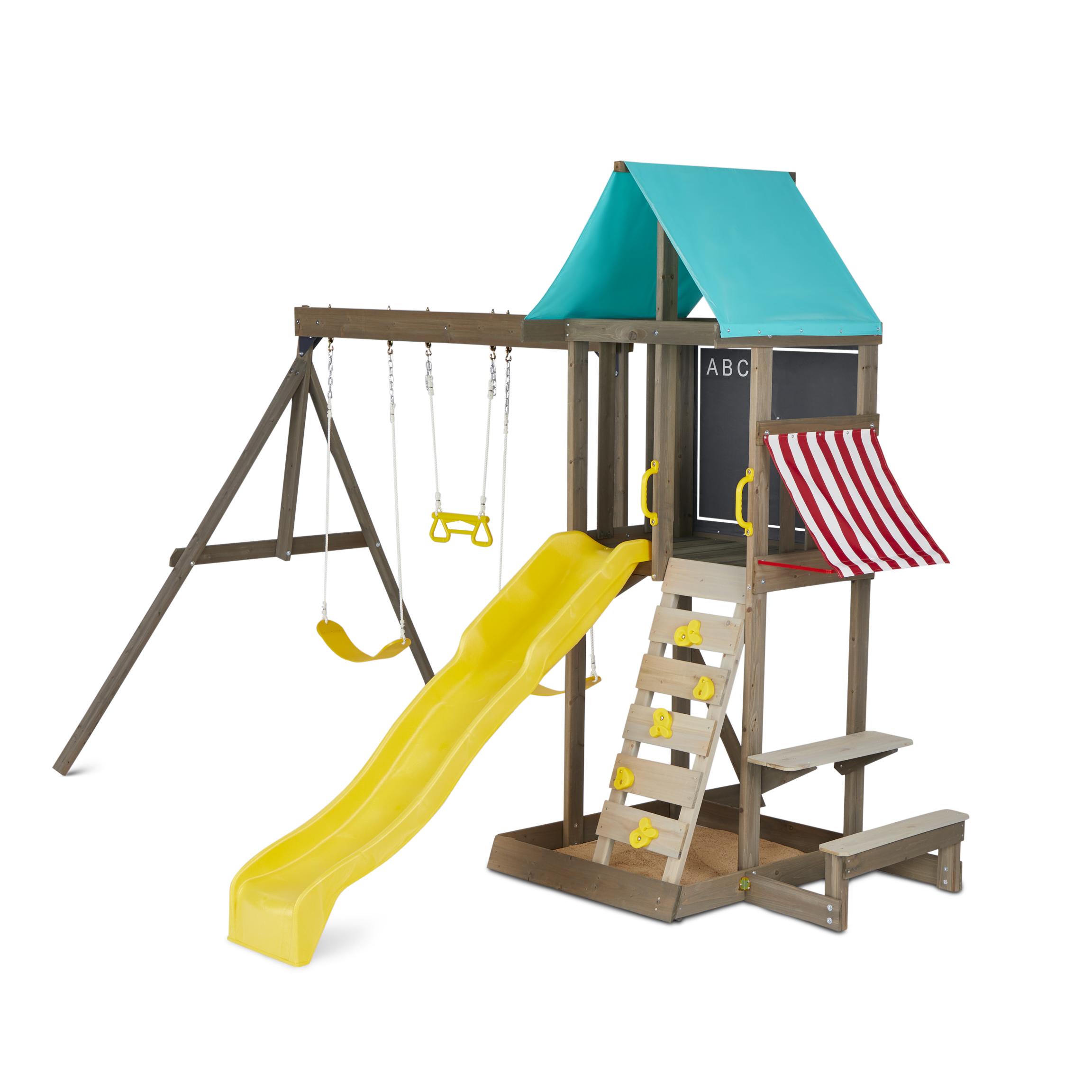 KidKraft Newport Kids Wooden Outdoor Playset Swing Set ...