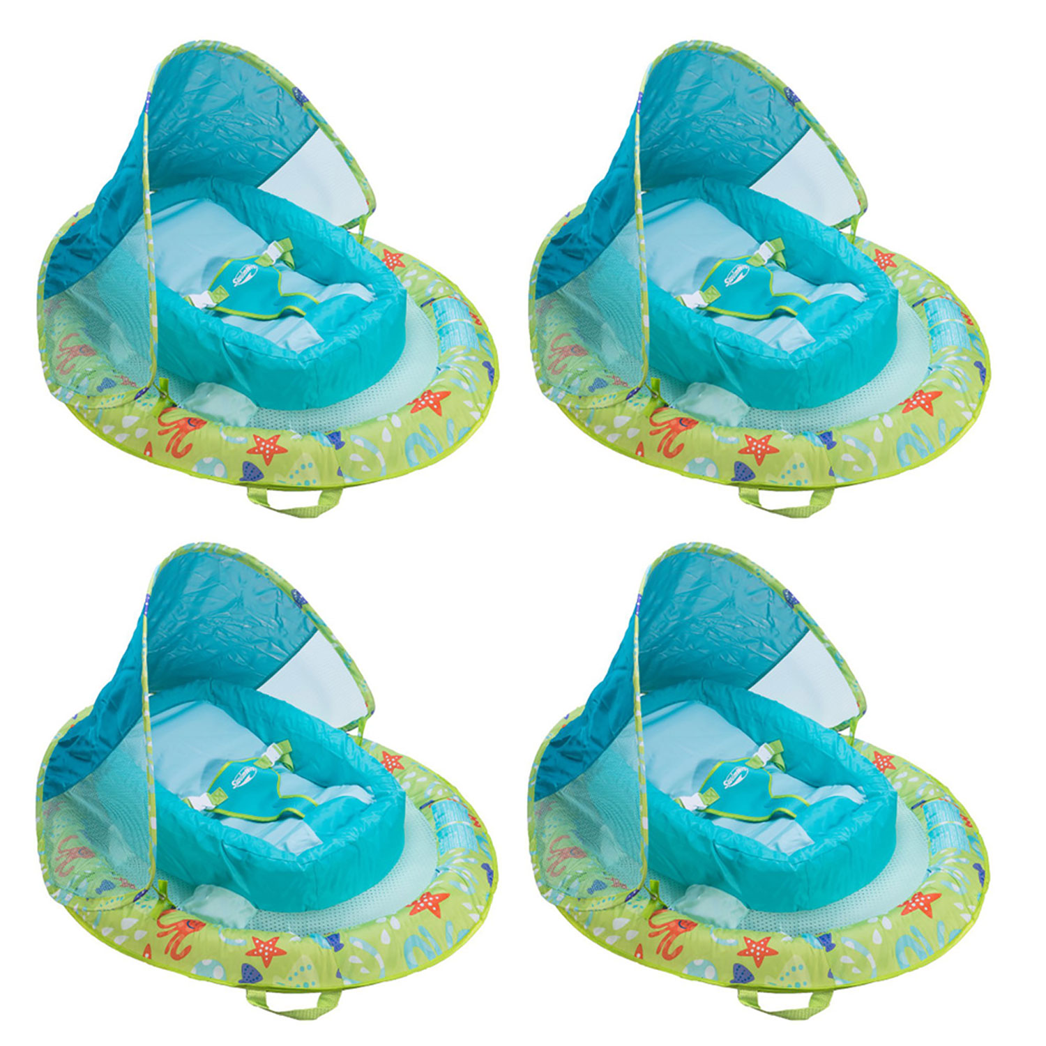 Details about SwimWays Infant Spring Inflatable Swimming Pool Float with  Canopy (4 Pack)