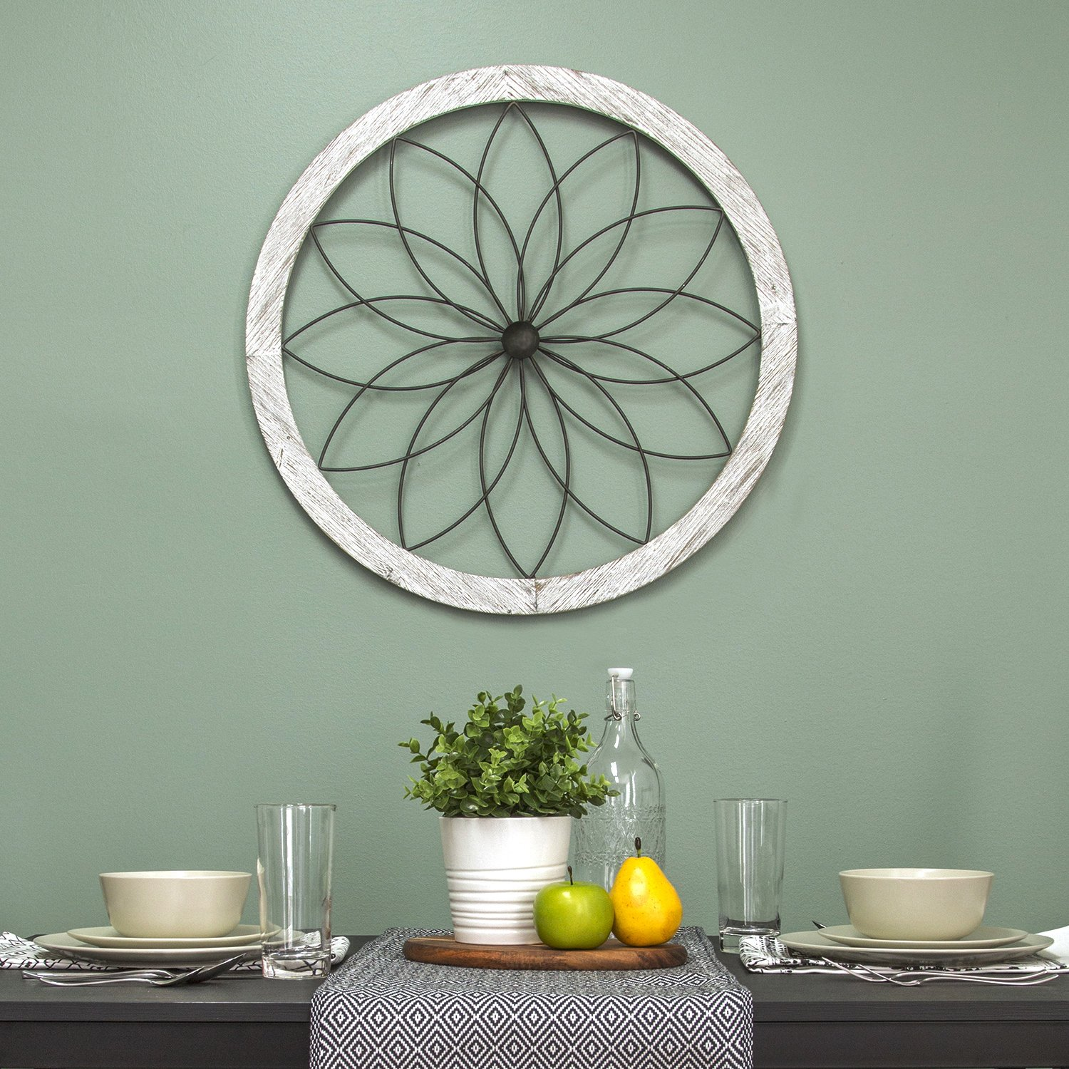 Details about Stratton Home Decor Metal and Wood Art Deco Flower Wall  Decor, White For Parts