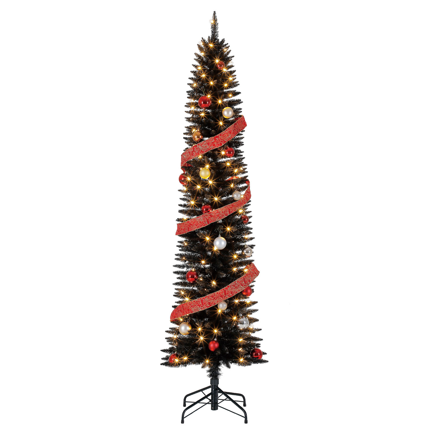 Home Heritage 7 Ft Pencil Artificial Tree with LED Lights ...