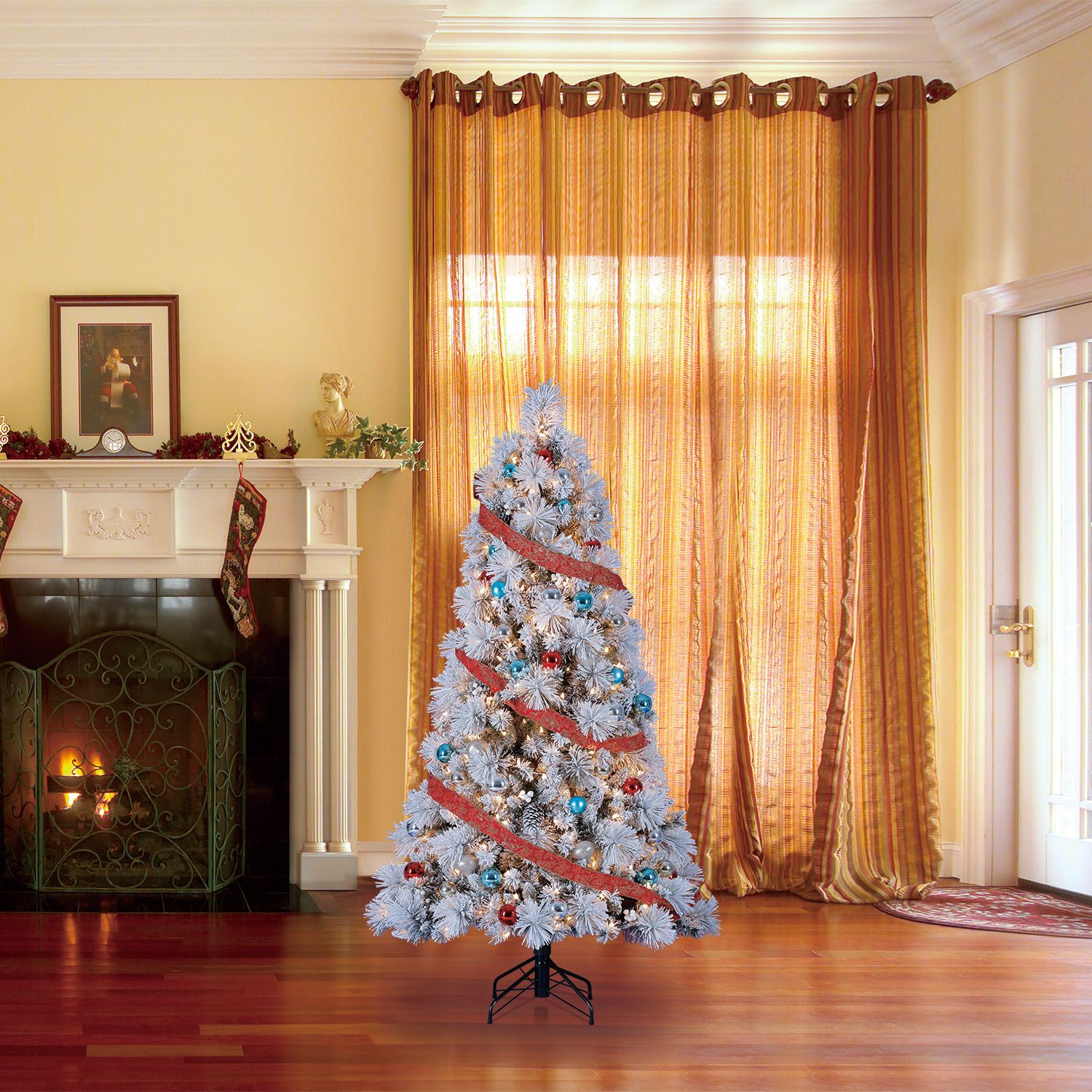 Home Heritage Snowdrift Spruce 6.5 Foot Flocked Christmas ...