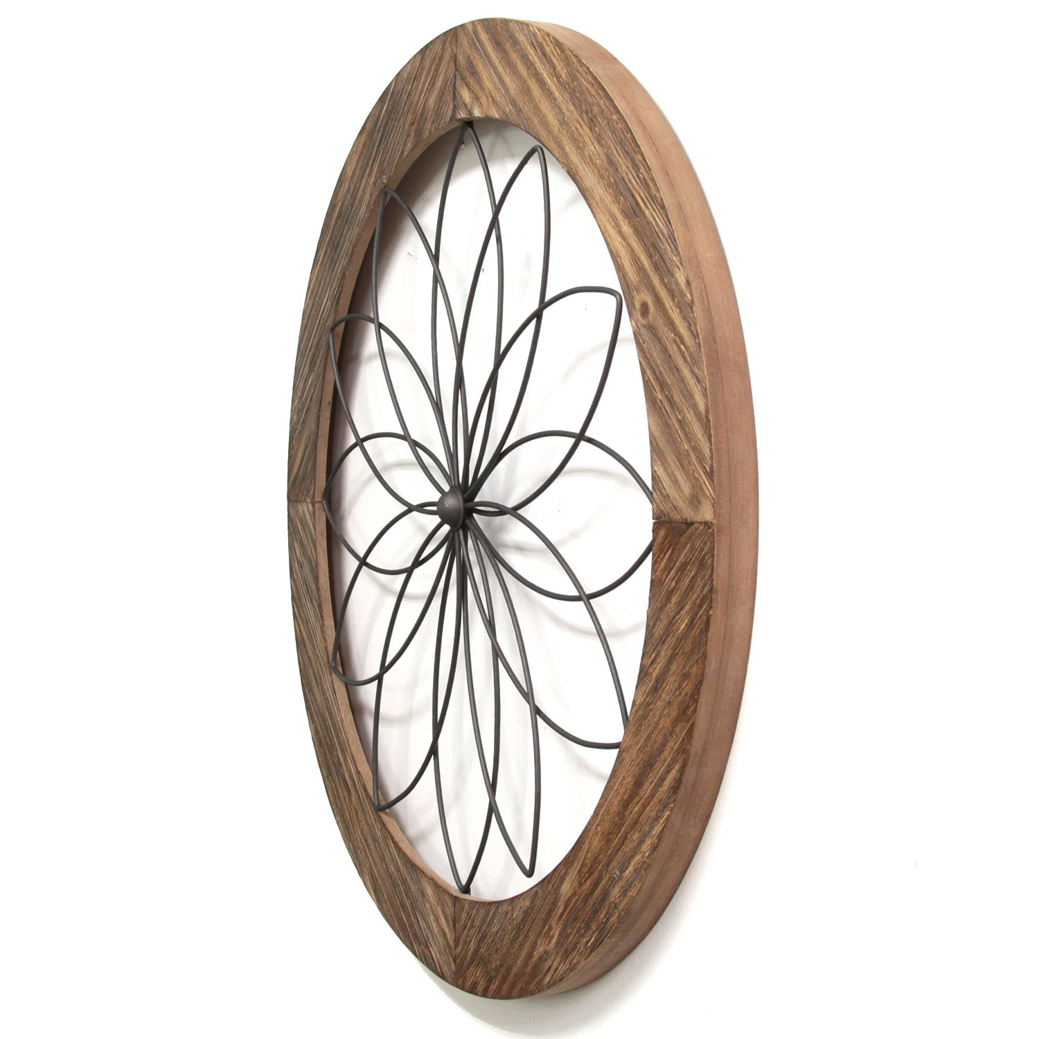 Stratton Home Decor S11570 Round Metal Natural Wood ...