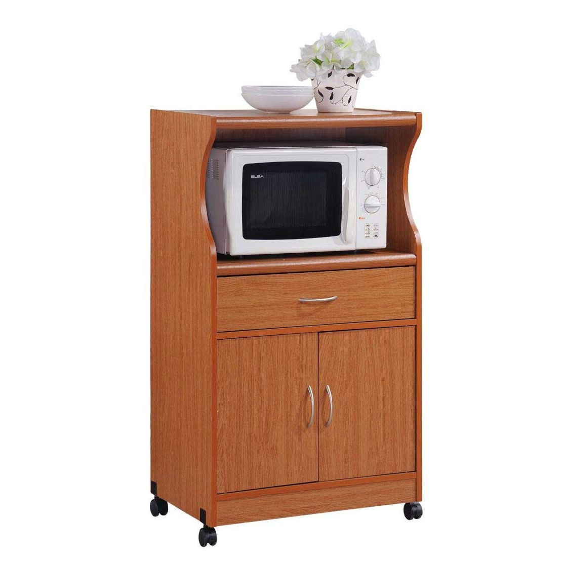 Hodedah Wheeled Kitchen Cart with Drawer and Cabinet ...