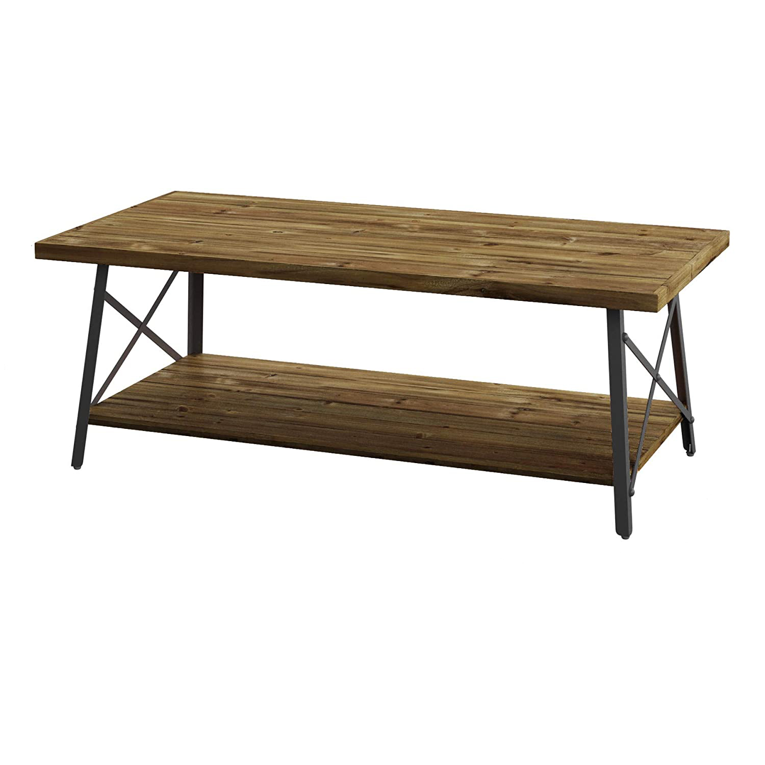 Emerald Home Chandler 45 Inch Long Rustic Open Storage Coffee Table Natural Fir Ebay