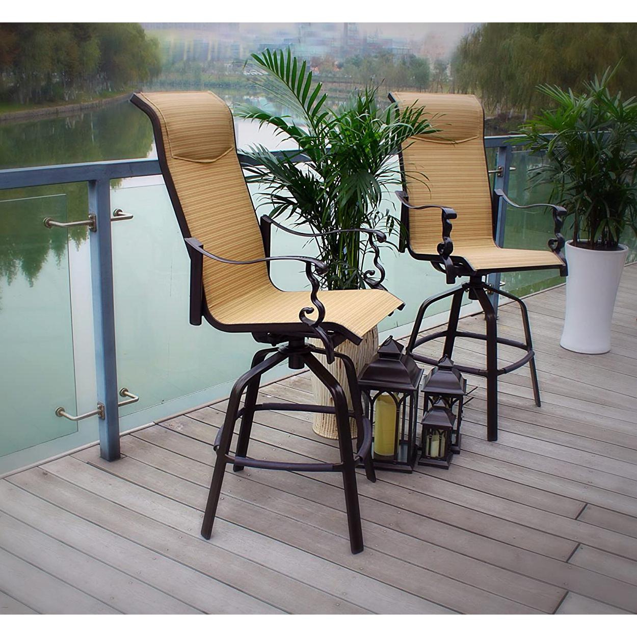 Pebble Lane Living Swivel Sling Barstool Patio Chairs ... on Pebble Lane Living id=66555