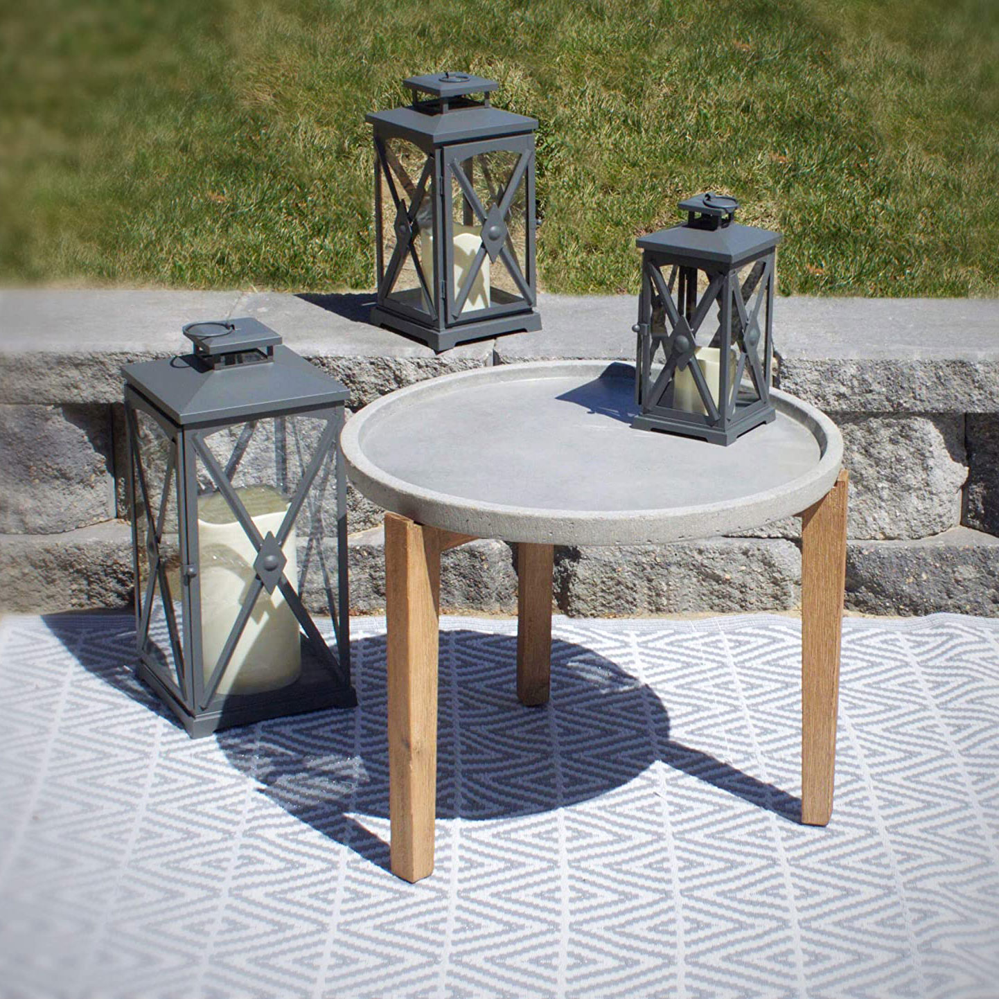 Pebble Lane Living Bali Cement Earth Round Side Table with ... on Pebble Lane Living id=59369