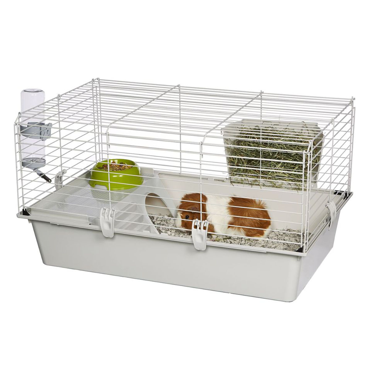 Ferplast Cavie Guinea Pig Cage w/ Water Bottle, Food Dish &