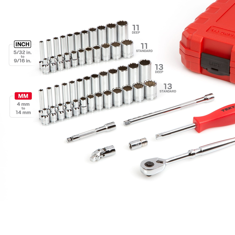 TEKTON SKT05302-D 55-Piece 0.25-Inch Drive 12-Point Socket and Ratchet Tool Set