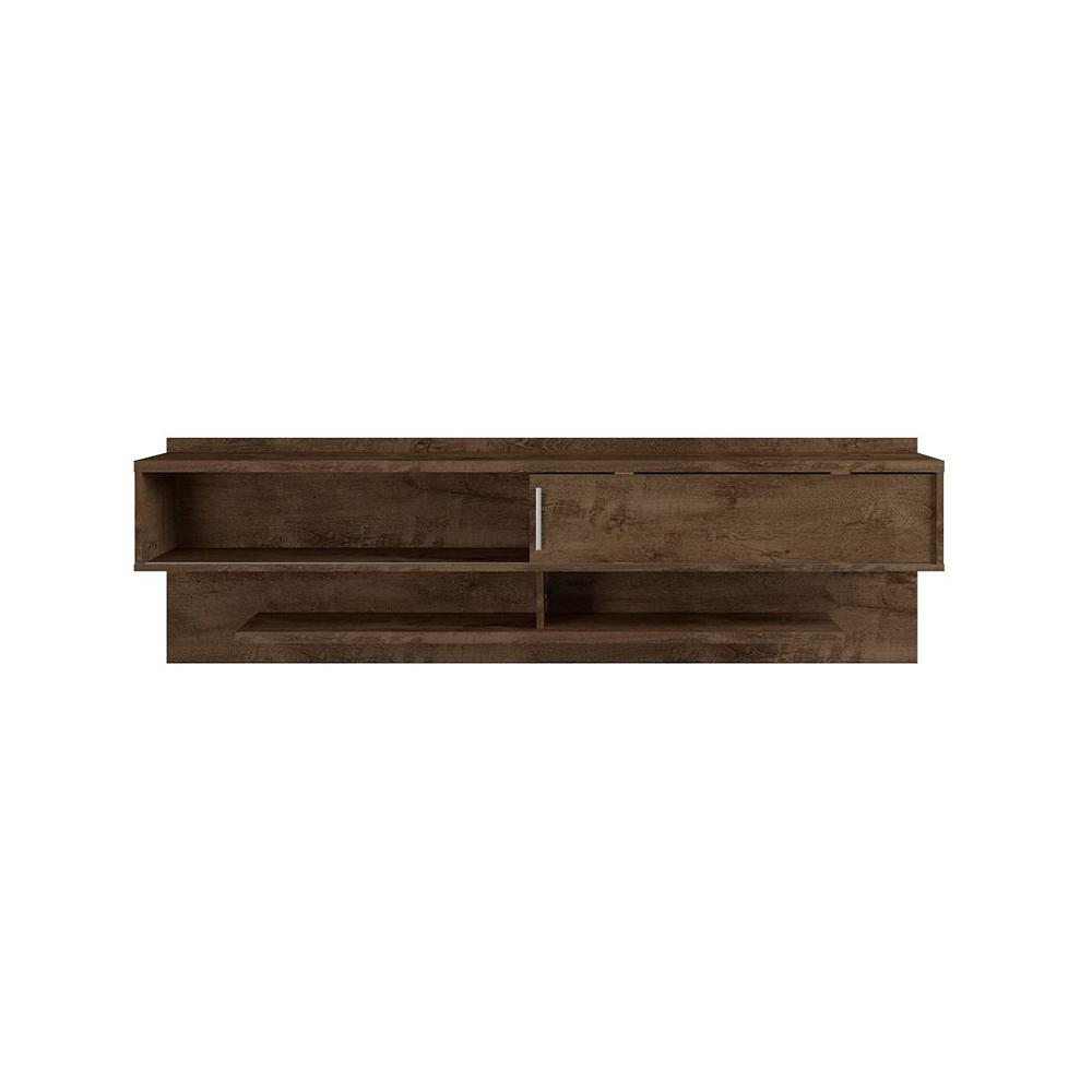 manhattan comfort astor floating tv entertainment center stand w/ shelves, brown