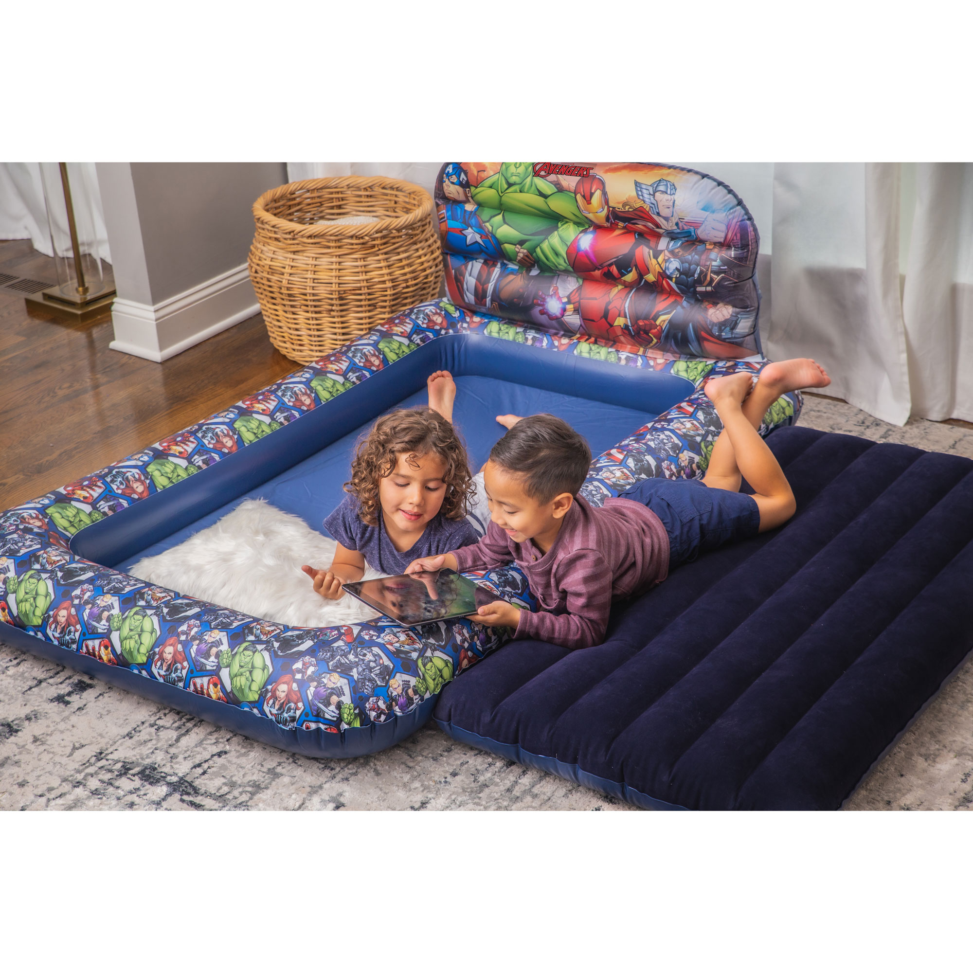 Living iQ Kids Blow Up Air Bed Mattress with Headboard and ...