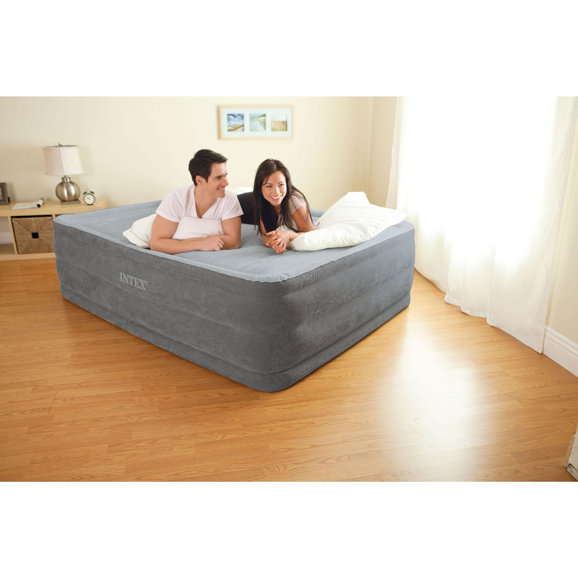 Intex Queen Comfort High Rise Dura-Beam Air Bed Mattress w ...