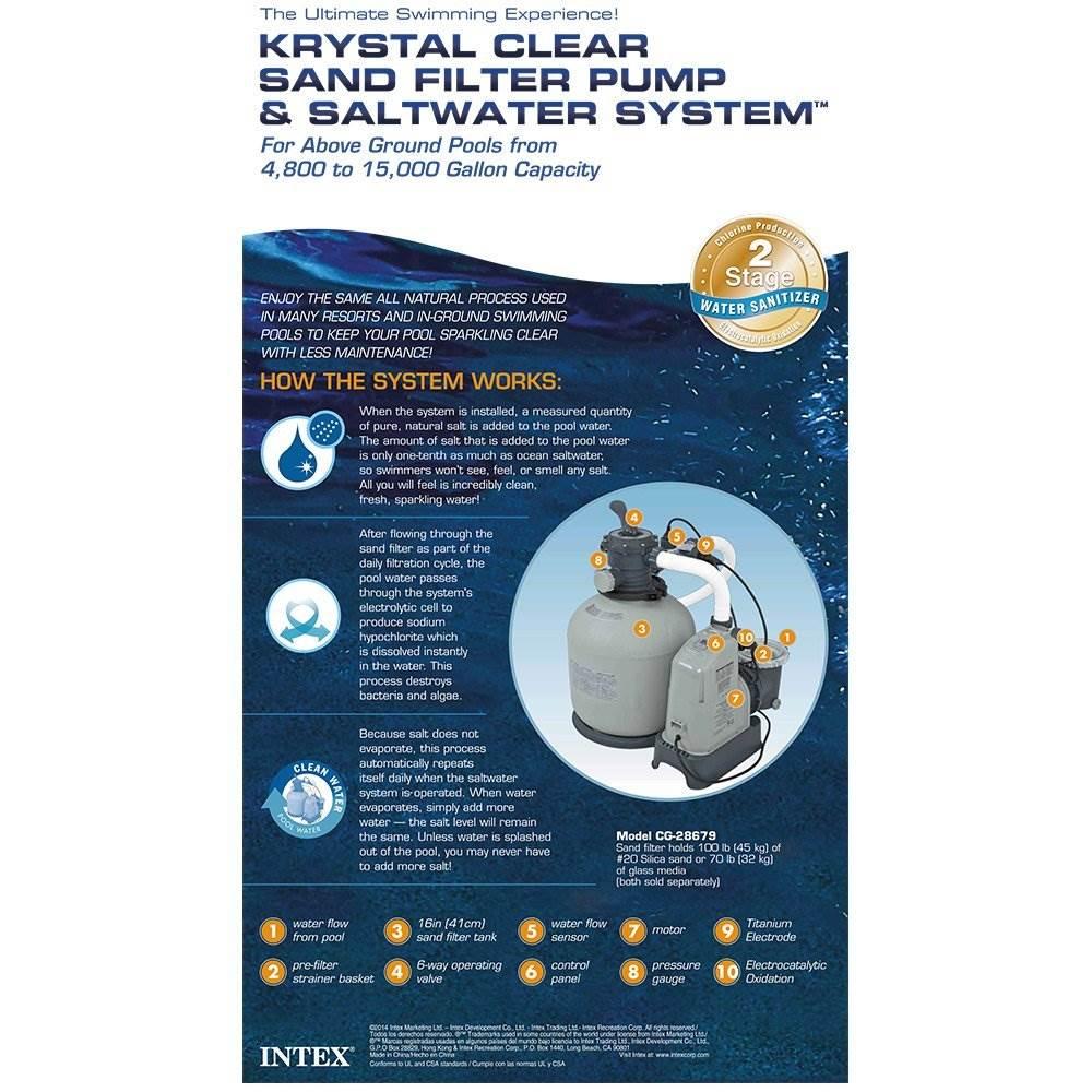 Intex Krystal Clear 2650 Gph Saltwater System Amp Sand