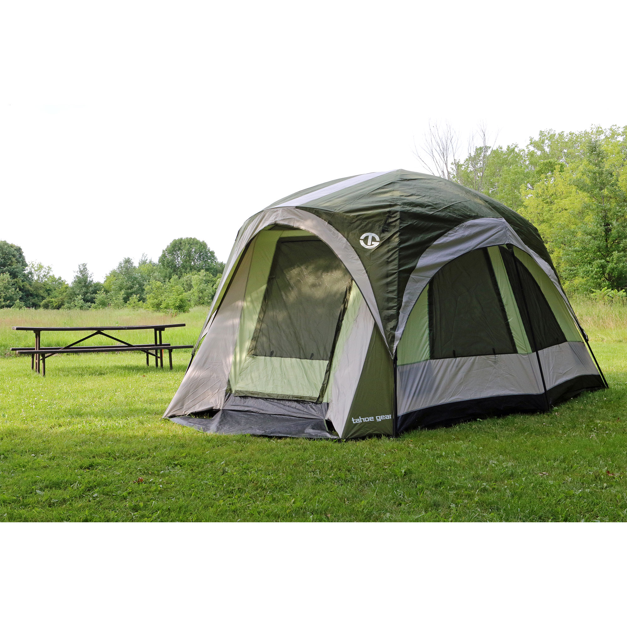 Green//White Tahoe Gear Jasper 7 Person Family Cabin Dome Outdoor Camping Tent