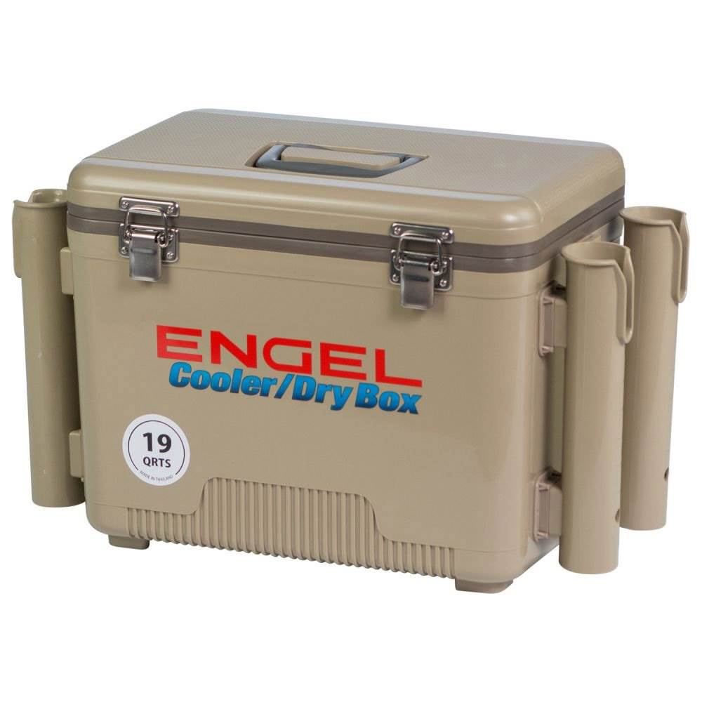Engel 19 Quart Fishing Rod Holder Attachment Insulated Dry Box Cooler Tan Ebay