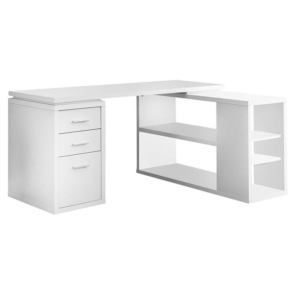 Details about Monarch Specialties L Shaped Modern Home Office Corner  Computer Desk, White